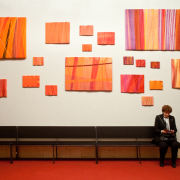 Not red banners, installation, fabric and wood, different formats - Archi Galentz